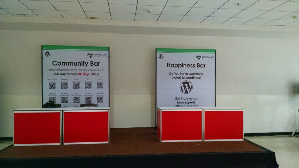 Community bar and happiness bar at WordCamp Nashik 2016